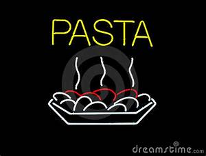 Neon Pasta Sign Stock s Image