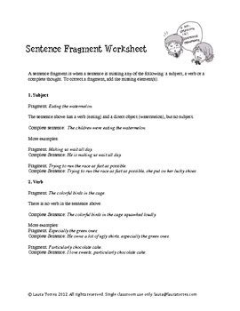 Sentence Fragments  Worksheets, Quizzes And Answer Keys By Laura Torres