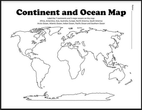 continent  ocean map worksheet blank amped