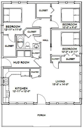 28x36 House 3 Bedroom 1 Bath 1 008 sq ftFloor Plan