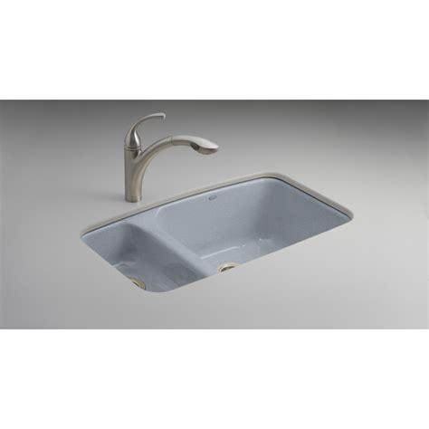 kohler undermount cast iron sink shop kohler lakefield double basin undermount enameled