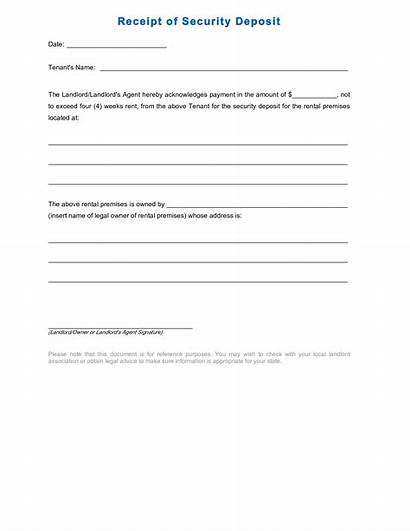 Deposit Receipt Security Rental Template Form Sample