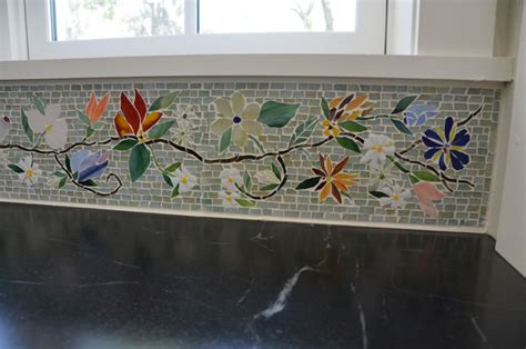 floral mosaic border  kitchen designer glass mosaics