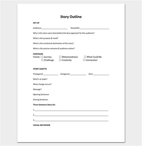 Novel Outline Templates by Story Outline Template 15 For Word And Pdf Format