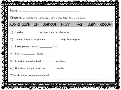 Free Printable Preposition Worksheets For Grade 2  Prepositions Worksheets For Grade 1 And 2