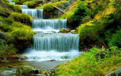 Water Ultra Waterfall Cascading Grass Stones River