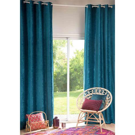 rideau 224 œillets bleu canard 130x300cm vintage velvet maisons du monde