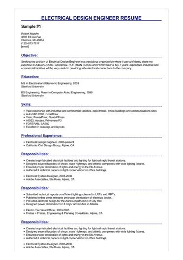 electrical design engineer resume samples
