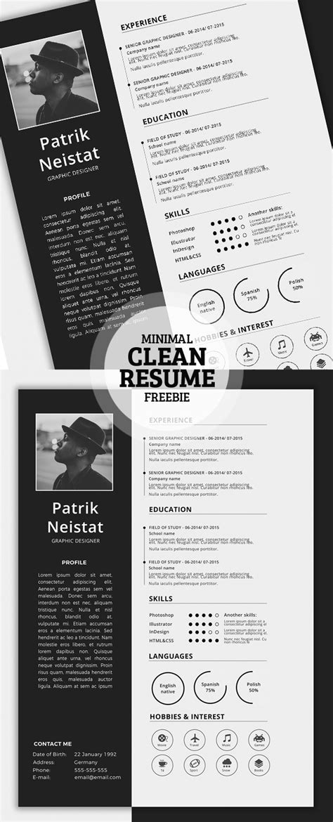 18345 graphic design resumes 17 free clean modern cv resume templates psd