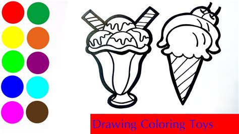 ice creams popsicle coloring  drawing learn colors