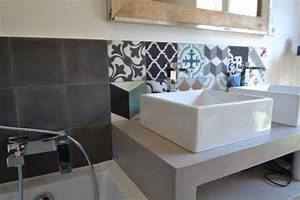 Carreaux De Ciment Salle De Bain : salle de bains carreaux ciment 7 photos amdeco ~ Melissatoandfro.com Idées de Décoration