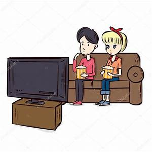Cartoon Couple Watching TV. — Stock Vector © dergriza ...