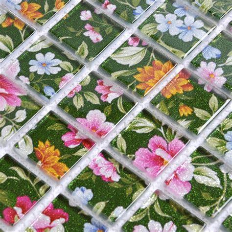 Tile Kitchen Ideas - puzzle mosaic wall tiles for backsplash flower pattern design