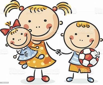 Cartoon Siblings Brother Three Drawing Smiling Sister