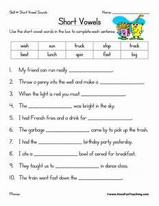 Short Vowels Worksheet   Have Fun Teaching