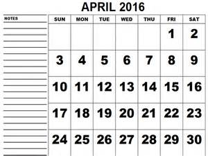 April Month Calendar 2016 Printable