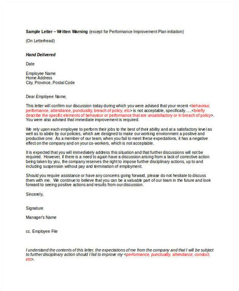 employee written warning template free 11 employee warning letter template pdf doc free premium templates