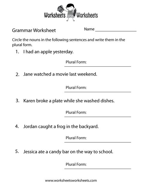 english grammar worksheet  printable educational