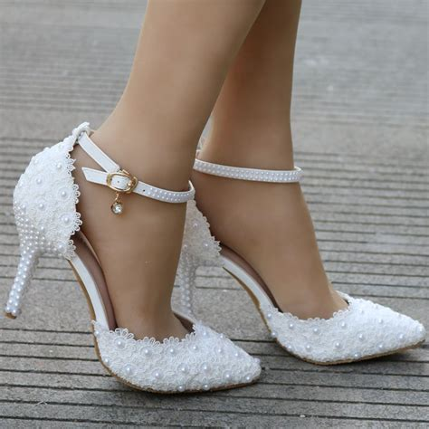 Wedding High Heels by White Lace Wedding Shoes Heels Thin Heels Pointed