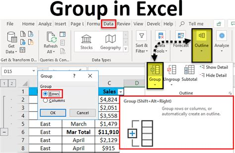 group  excel  examples   create excel group
