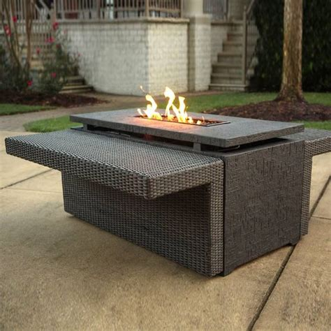 agio fire pit table agio marietta gas fire pit with wicker side tables