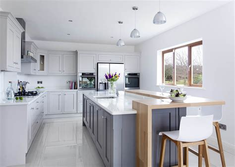 White Kitchen Island Breakfast Bar - contemporary classic painted kitchen with oak breakfast bar cornforth moles breath