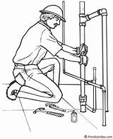 Plumber Coloring Pipes Working Plumbing Sheets Sheet Printactivities Area sketch template