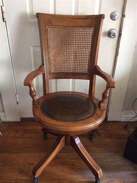 antique wooden desk chair antique vintage oak office desk chair w cane back wood