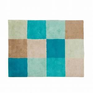 ce tapis damier bleu en coton tres gai et tonique With tapis enfant grande taille