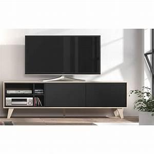 Tele 180 Cm : zaiken meuble tv scandinave gris anthracite et d cor ch ne l 180 cm achat vente meuble tv ~ Teatrodelosmanantiales.com Idées de Décoration