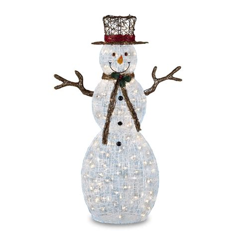 outdoor lighted snowman decorations trimming traditions 150 clear light icy