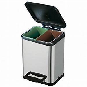 poubelle tri selectif 2 bacs inox amazonfr cuisine maison With poubelle de tri cuisine