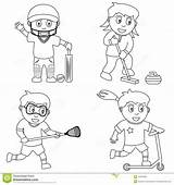 Coloring Sport Sports Cricket Colouring Playing Lacrosse Curling Pages Children Sketch Illustration Collection Scooter Bra Vector Find Dreamstime Template sketch template