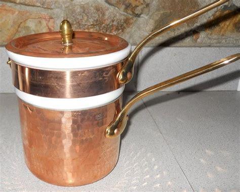 mauviel  qt copper double boiler cookware copper