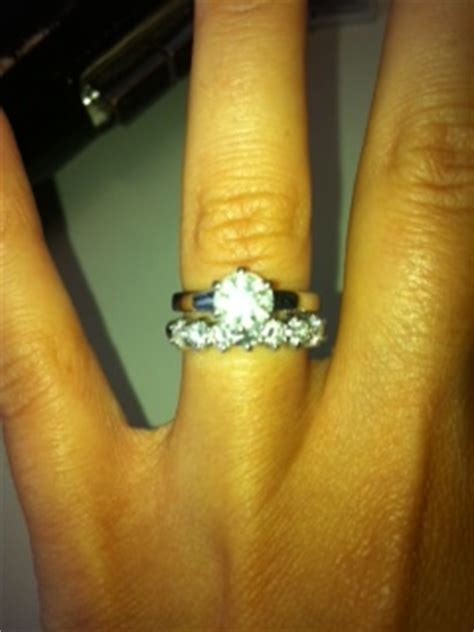 wedding ring and engagement ring combo with