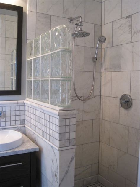 Shower Bathroom Ideas by Glass Block Half Wall Home Design Ideas Pictures Remodel