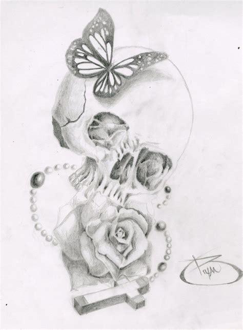 skull butterfly rose cross  bryanchalasdeviantartcom  atdeviantart