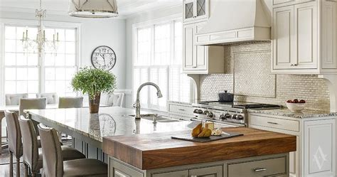 Marble And Butcher Block Countertops by Tumbled Marble Kitchen Backsplash Transitional