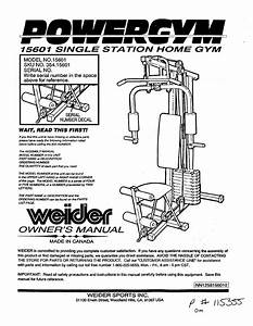 Weider 15601 User Manual Power Gym Single Station Home
