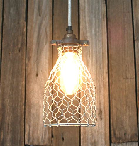 chicken wire cage l fabric cord light fixture with bulb