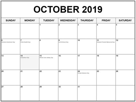 october calendar holidays printable calendar