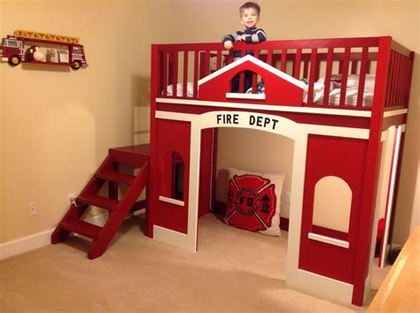 childs fire station loft bed    home