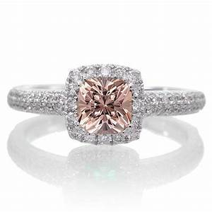 2 carat vintage halo morganite and diamond engagement ring With 2 carat diamond wedding ring