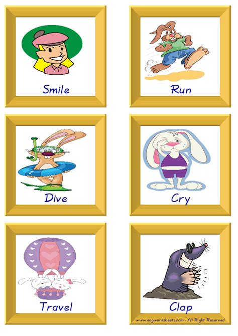 action verbs esl printable english flash cards worksheets
