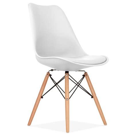 chaise de bureau design blanche white pad dining chair with dsw style wood legs cult uk