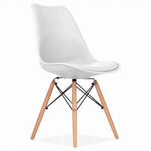 White soft pad dining chair with dsw style wood legs cult uk for Deco cuisine avec chaise coloràé
