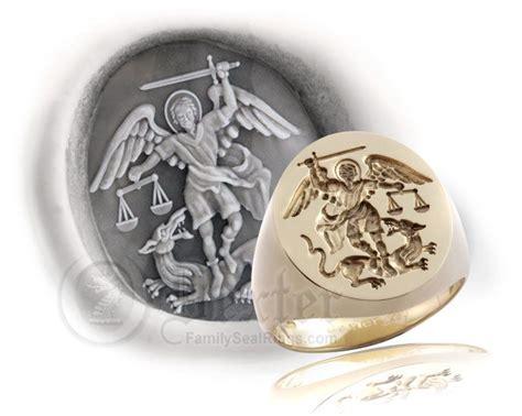 saint michael  archangel signet ring  century