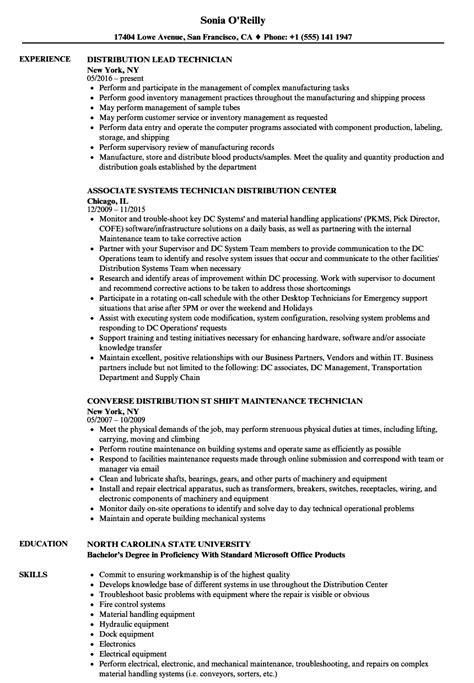 technician distribution resume sles velvet