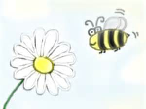 Bee and Flower Drawing