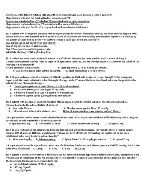 ACLS Post Test | Cardiac Arrest | Cardiopulmonary